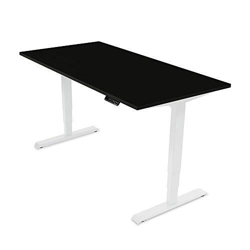 Ergotopia® Elektrisch höhenverstellbarer Schreibtisch | 5 Jahre Garantie | Ergonomischer Steh-Sitz Tisch mit Memory Funktion | Beugt Rückenschmerzen vor & Macht produktiver (180x80, Schwarz, W)