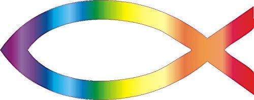 NetSpares 119587458 1 x Aufkleber Jesus Fisch Ichthys Fish Sticker Autoaufkleber Regenbogen Shocker
