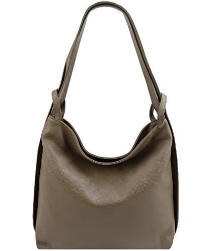 Freyday 2in1 Damen Handtasche Rucksack Designer Luxus Henkeltasche aus 100% Echtleder (Dunkeltaupe)