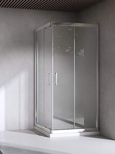 Yellowshop - Box Cabina Doccia Bagno Quadrato, Dimensioni: 80X80 cm, Cristallo 6mm : Puntinato Opaco
