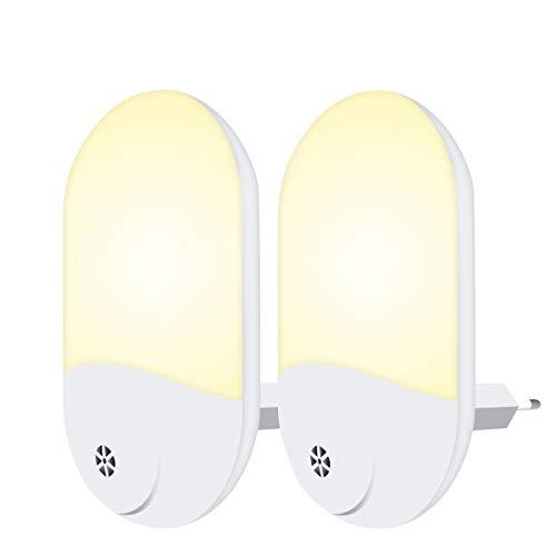 Luce Notturna Bambini, Luce Notturna LED Plug-and-Play, Automatiche Luce Notturna da Presa con Sensore Crepuscolare per Camerette, Soggiorno, Bagno, Corridoio, Vano Scala, Cucina (2 Pezzi)
