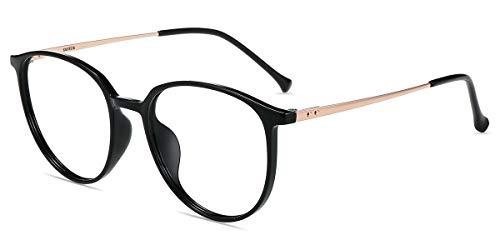 Firmoo Blaulichtfilter Brille Damen Rund Schwarz, Entspiegelte Anti Blaulicht Brille ohne Sehstärke für Herren, UV400 Blaulicht Schutzbrille für Bildschirme gegen Kopfschmerzen