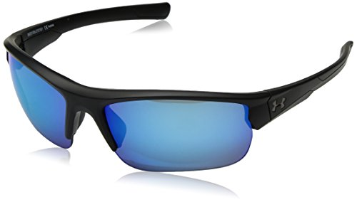 Under Armour Propel Wrap Sunglasses, SATIN BLACK/GRAY WITH BLUE MIRROR, 68 mm
