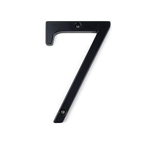 HASWARE numéro de maison signe 4 pouces (10 cm) numéros de porte modernes plaque de signalisation rue adresse à domicile chiffres en alliage de Zinc (7, Noir)