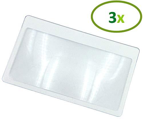 Thorani Taschenlupe im Kreditkartenformat I Kartenlupe I Lupe mit 3-facher Vergrößerung, ultra dünn, biegsam und bruchsicher - 3 Stück