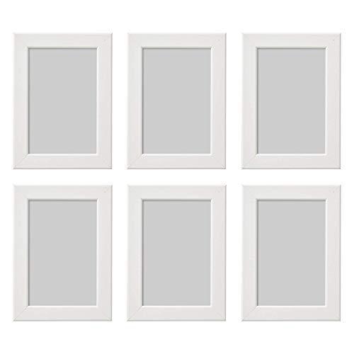 Ikea Fiskbo - Marco de Fotos (10 x 15 cm, 6 Unidades), Color Blanco, Cartón, Tablero de Fibras, lámina de poliestireno, Pintura, Blanco, 10x15cm