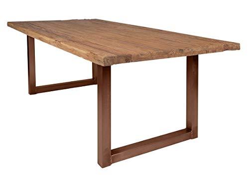 SIT-Möbel 7139-01 + 7112-00 Table de Table en Teck recyclé avec Plateau en Fer Naturel 180 x 100 x 78 cm Châssis Marron Vieilli composé de 7139-01 + 7112-00 Épaisseur 5 cm
