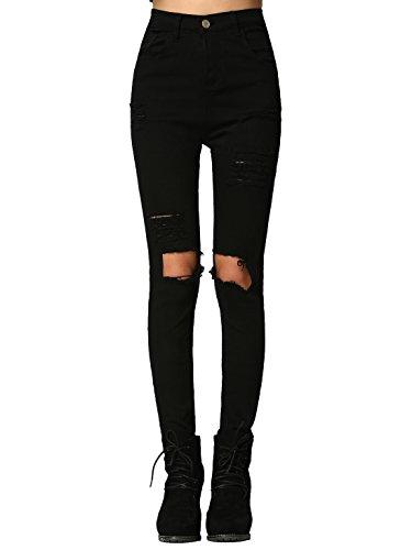 SweatyRocks Women's Casual High Waist Ripped Skinny Jeans Distressed Denim Pants (Medium, Black#8)
