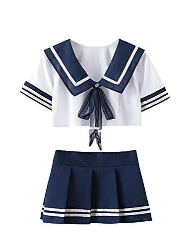 365-Shopping Sexy Cosplay Schulmädchen Dessous Outfit Mini Sailor Anzug mit Strümpfen