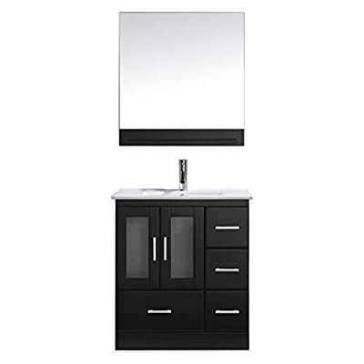 """Virtu USA MS-6730-C-ES-001 Zola 30"""" Single Bathroom Vanity White Ceramic Top and Square Sink with Brushed Nickel Faucet and Mirror, 30 inches, Dark Espresso"""