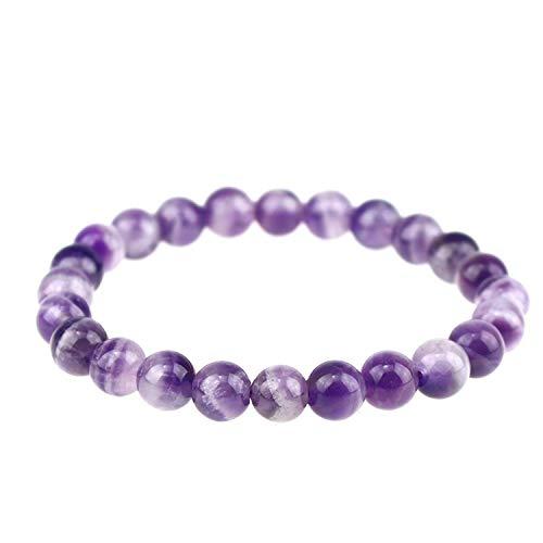 Natural Gemstones Bracelet 8mm Chakra Round Beads Energy Power Crystal Reiki Healing Elastic Stretch 7 Inch Unisex(stripe Amethyst)