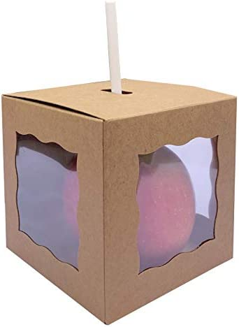 30ct Caramel Apple Boxes With Hole Top 4 x 4 x 4 Craft Window Gift Boxes For Candy Apples Ornaments product image