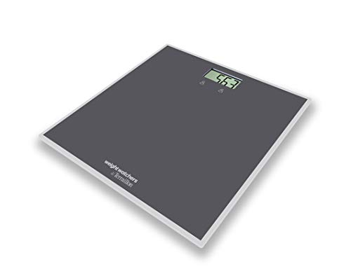 Weight Watchers By Terraillon - Báscula electrónica con 2 memorias de usuarios, 150 kg, elástica deportiva con libro de 17 ejercicios incluidos, Easy Start, color gris