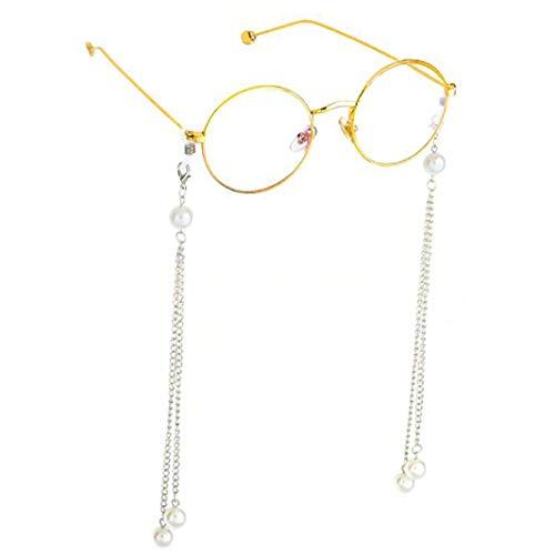 ZHDXW 1 par de cadenas para gafas de sol con cuentas y correa para gafas de sol de lectura, cordones para mujer, color plateado