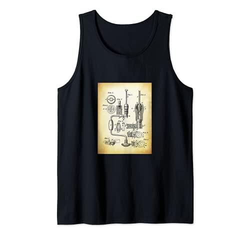 Taladro de Mano Camisa con Patentes Retro Antiguo Cool Camiseta sin Mangas