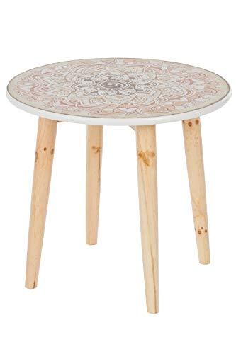 elbmöbel Beistelltisch Couchtisch Paisley Mehrfarbig weiß braun rund Tisch aus Holz im Shabby chic Look Vintage Durchmesser Ø 50cm