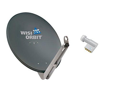 WISI Satellitenschüssel Set basaltgrau 85 cm für 4 Teilnehmer bestehend aus OA 85 H und OC 06 D