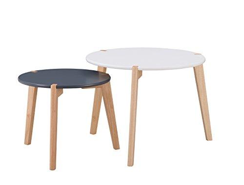 Alsapan Galet Lot de 2 Tables Basses Gigognes Scandinave Blanc et Noir Mat Piétement Hévéa Massif 60 x 46 cm et 45 x 39 cm