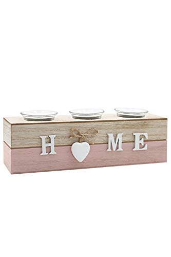 Afuly Wooden Tealight Candle Holder Rustic White Heart Glass Pink for Tables Living Room Bathroom Christmas Shabby Decor Gift Set of 3