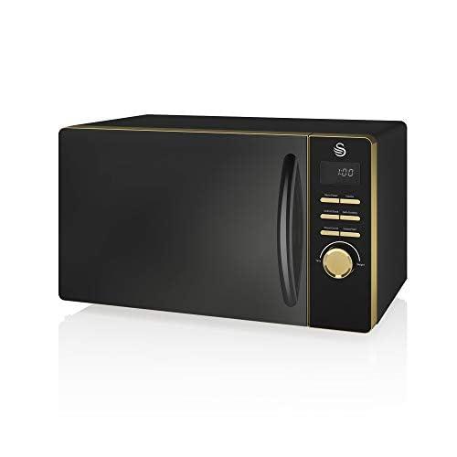 318XW4eFomL. SS500  - Swan Gatsby Black and Gold 800W Digital Microwave, 23 Litre, Digital Display, Variable Power Settings, Auto Cook Menu…