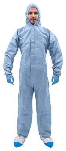 AMZ Disposable Overall. Blue Adult Overall X-Large. SMS Fabric Apparel with Attached Hood, Zipper Front Entry, Elastic Wrists Waist. Unisex Workwear for Industrial Applications.