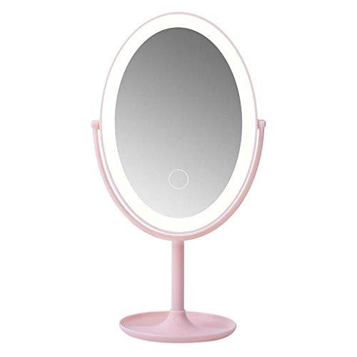 YNHNI Espejo de tocador Espejo de luz, Regulable LED de Carga móvil de Almacenamiento Dispositivo de Doble Cara del Espejo Giratorio for Maquillaje Maquillaje de Afeitar,Viaje