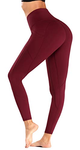 Olacia Yoga Pants Leggings with Pockets, Seamless High Waisted Tummy Control Workout Leggings for Womens,Red Wine, Medium