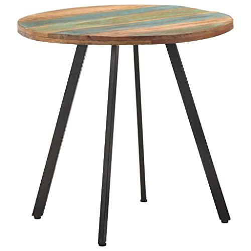 vidaXL Esstisch Industriestil Handgefertigt Küchentisch Esszimmertisch Speisetisch Tisch Esszimmer Küche Rund 80cm Recyceltes Massivholz