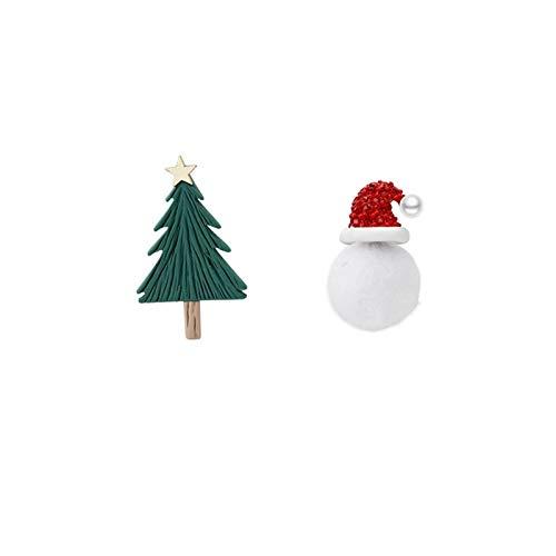 Aretes turcos Pendientes asimétricos de la Navidad del muñeco de nieve y del árbol retro para las mujeres niñas únicas de diamantes de imitación brillante de la joyería de los pendientes aretes para n
