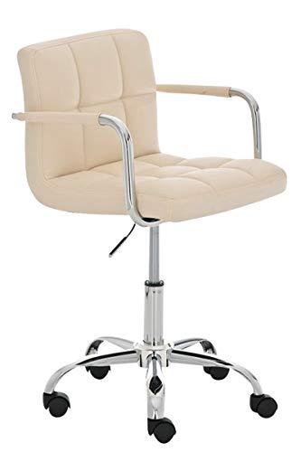CLP Bürostuhl Lucy mit gestepptem Kunstlederbezug I Drehstuhl mit Leichtlaufrollen I Schreibtischstuhl mit Armlehne, Farbe:Creme