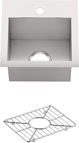 """KOHLER Vault 15"""" Single Bowl 18-Gauge Stainless Steel Entertainment Bar Secondary sink with Single Faucet Hole K-3840-1-NA Drop-in or Undermount Installation"""