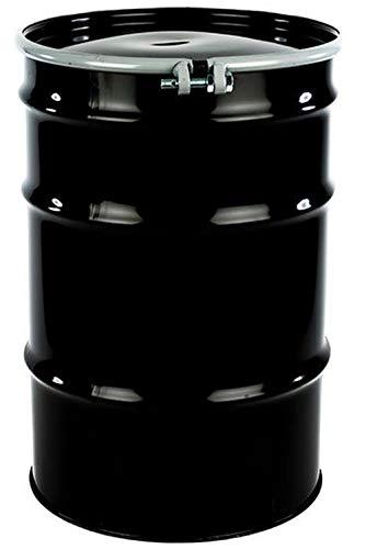 55 Gal Steel Drum Open-Head| Black | Metal Barrel | Rust Inhibitor Lining | Bolt Ring Closure