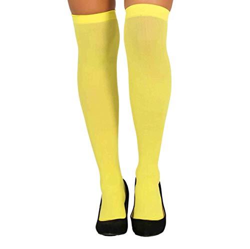 Guirca Strümpfe gelb Overknee bunt für Damen Karneval Fasching Party Motto