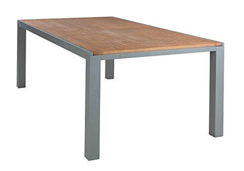 Ausziehtisch Gartentisch Esstisch | BxHxT 200x76x110 cm | Grau | Aluminium | Eukalyptusholz | Ausziehbar