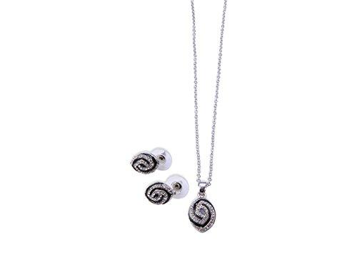 Enez Set Halskette 46cm + Ohrringe Ø 2,0 cm 18 Karat Vergoldet R2138b