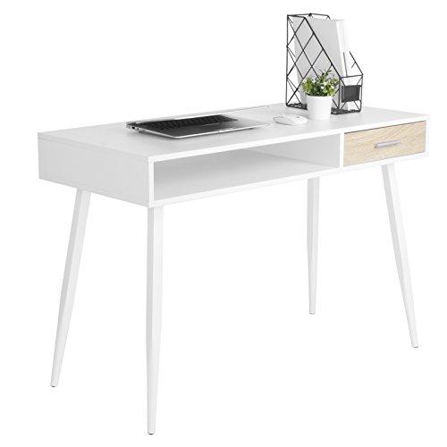 Woltu TS39ws - Scrivania, tavolo per computer, tavolo da ufficio, da lavoro, in melamina, con un cassetto e uno scomparto aperto, struttura in acciaio, da 110 x 50 x 75 cm, in legno, colore: bianco