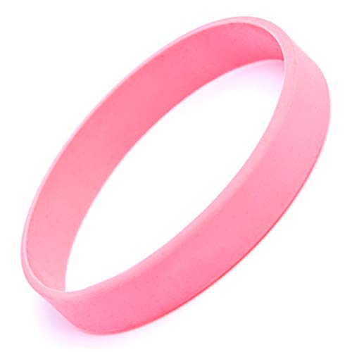 """48pcs Silicone Wristbands Rubber Bracelets for Parties, Sports and Events, Durable and Flexible Customizable,Width 1/2 inch (Pink, Adult/8"""")"""