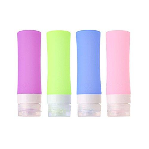 HoJoor Botellas de Viaje de Silicona, FDA Certified 100% BPA Gratis Recipientes rellenables portátiles a Prueba de Fugas para champú, Acondicionador,Loción, artículos de tocador(4 Unidades) -80ml