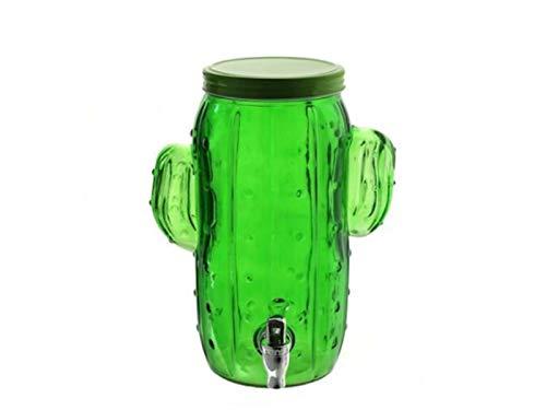 4 Liter Getränkespender in Kaktus-Form aus dickem Glas mit Zapfhahn mit Deckel