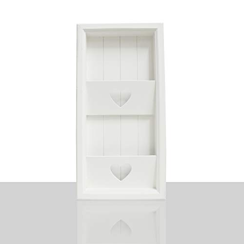 DRULINE Zeitschriftenhalter Zeitungshalter Herz Zeitung Wandzeitungshalter Magazinboard Landhaus Stil 2 Fächer | L x B x H : ca. 30 x 5.5 x 60 cm | Farbe Weiß