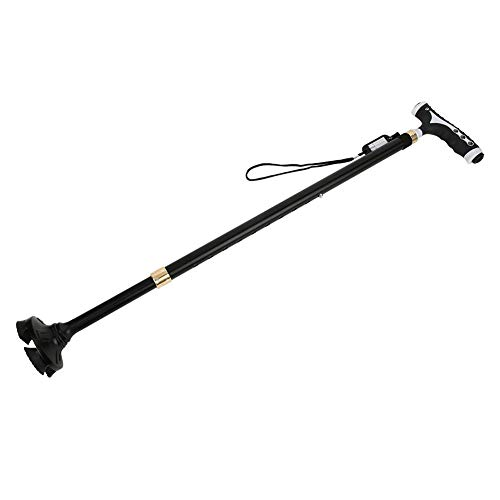 Muletas de Cuatro Patas Ajustables con Pilas, bastón de Caminar Antideslizante, Duradero para Ancianos Accesorio para Caminar con luz LED(Black)