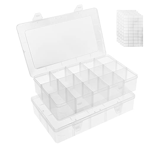 Umirokin 2 Pack 15 Grid Large Tackle Beads Box Organizer Thread Craft Organizers...