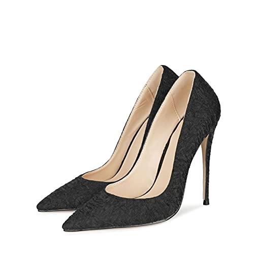 YIZHIYA Tacones Altos de Mujer,12cm Pliegues de Tela Elegante Punta Estrecha Asakuchi Tallas Grandes Zapatos de Corte para Mujer,Fiesta de Bodas Club Vestido de Noche Bombas,Negro,34 EU