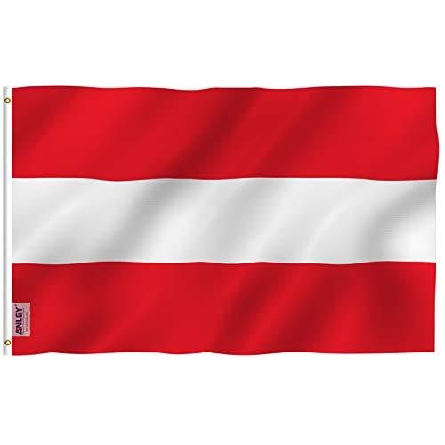 ANLEY Fly Breeze 3x5 Feet (90x150 cm) Vlag van Oostenrijk - Levendige kleuren en UV-bestendig - Canvaskop en dubbel gestikt - Vlaggen van de Republiek Oostenrijk Polyester met koperen doorvoertules 3 X 5 Ft