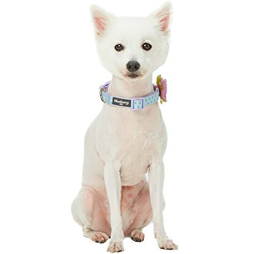 "Blueberry Pet 2019 New 4 Patterns Adjustable Flocking Dog Collar with Artificial Silk Flower - Polka Dot in Pastel Purple, Medium, Neck 14.5""-20"