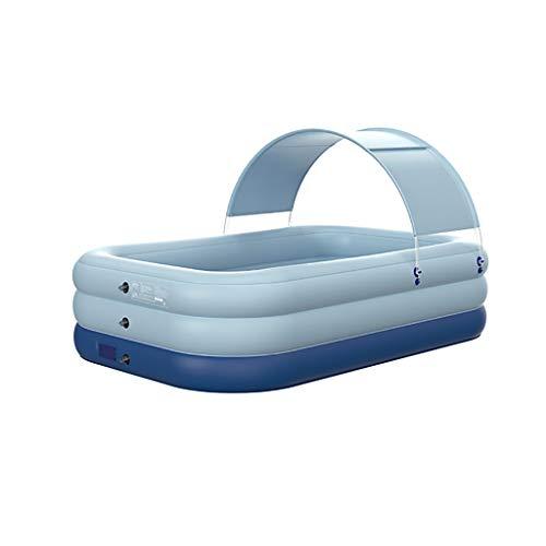 SS-1 Piscina Hinchable Familiar, Gran Piscina Rectangular para Adultos, jardín y al Aire Libre, Piscina Infantil, Piscina para niños pequeños con toldo para sombrilla