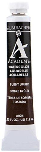 Grumbacher Academy Watercolor Paint, 7.5ml/0.25 Ounce, Burnt Umber (A024)