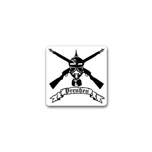 Aufkleber/Sticker Preußischer Soldat Gasmaske Gewehr Preußen Waffe 7x7cm #A2347