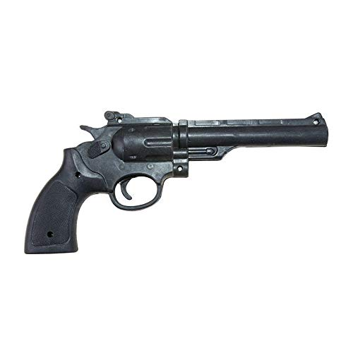 P'tit Clown 51366- Revolver in plastica, 25 cm, Colore: Nero
