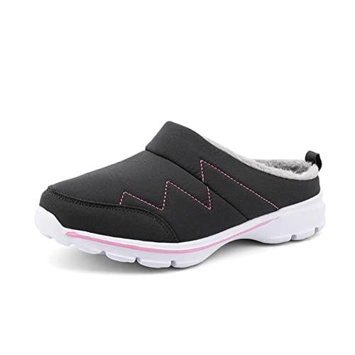 Zapatillas cálidas para hombre de mujer, además de zapatos de algodón cómodos de terciopelo, zapatillas antideslizantes impermeables, zapatillas para el hogar, Gris rosa., 37 EU